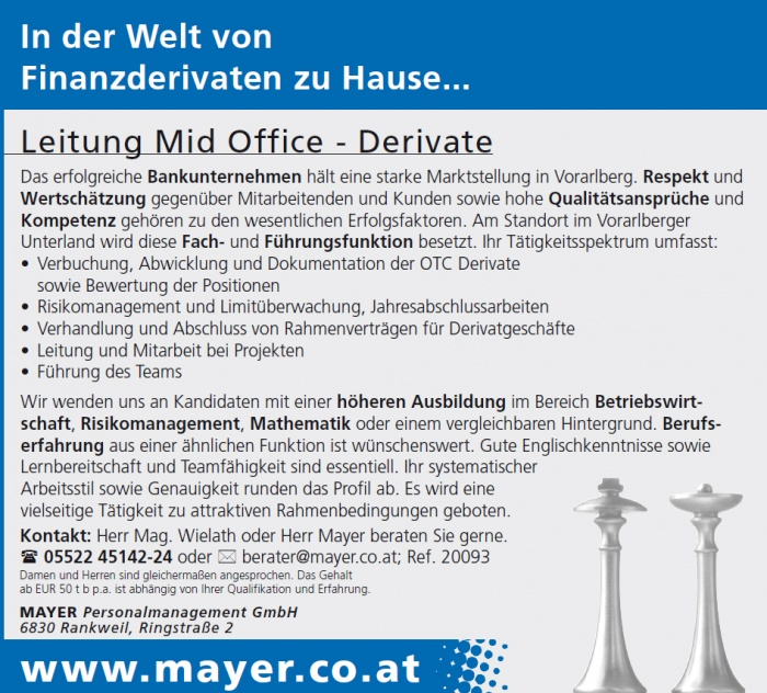 Leitung Mid Office - Derivate