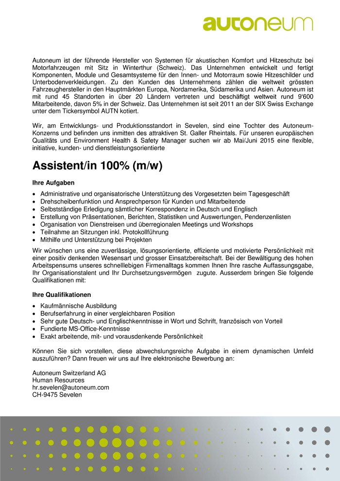 Assistent/in 100% (m/w)