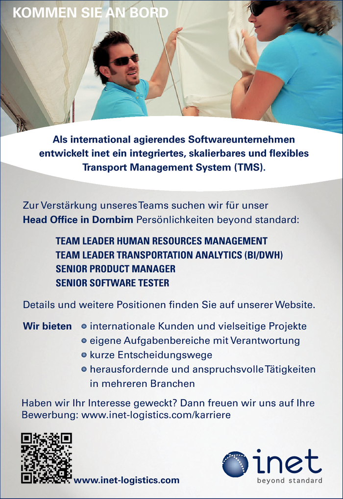 Human Resources Management, Transportation Analytics, Produkt Manager/in, Software Tester/in