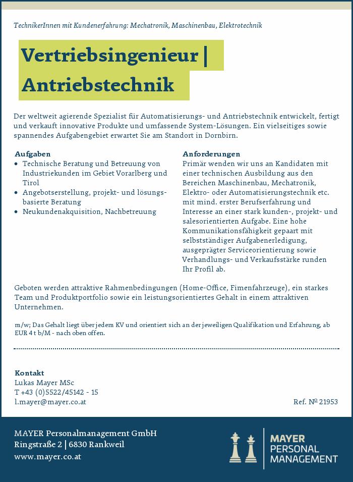 Vertriebsingenieur   Antriebstechnik - Bezirk Dornbirn - Jobs in ...