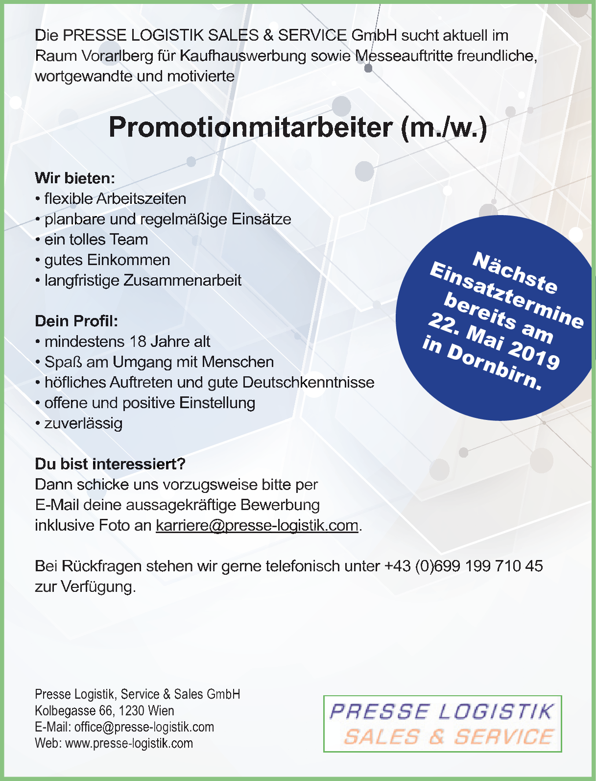 Promotionsmitarbeiter Mw Vorarlberg Jobs In Vorarlberg