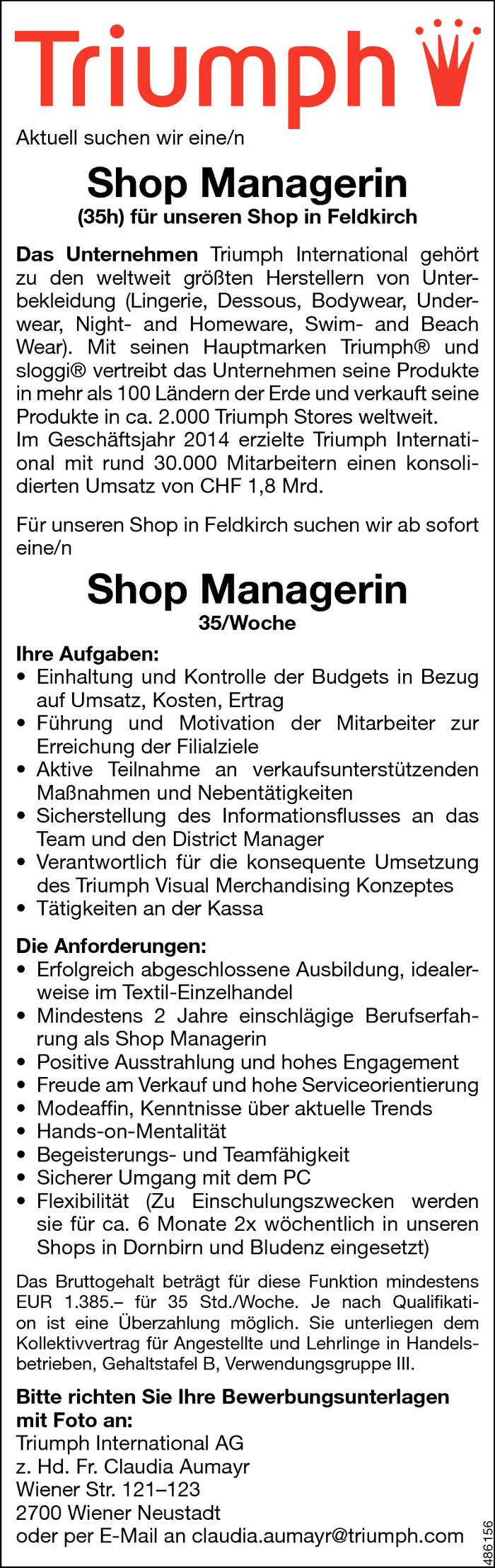 Shop Manager/in