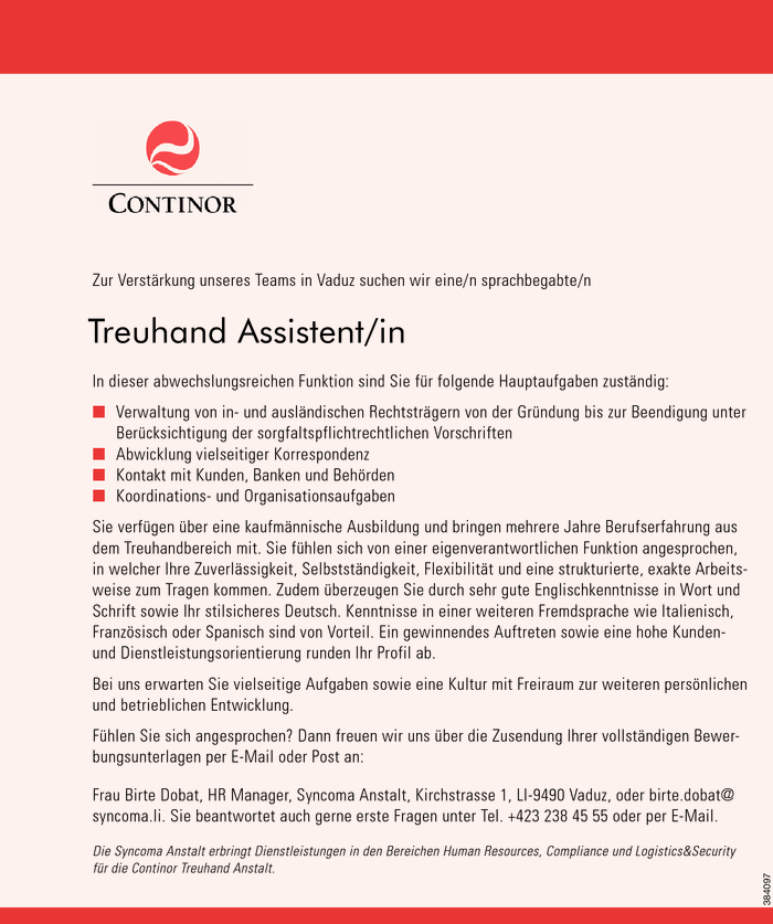 Treuhand Assistent/in