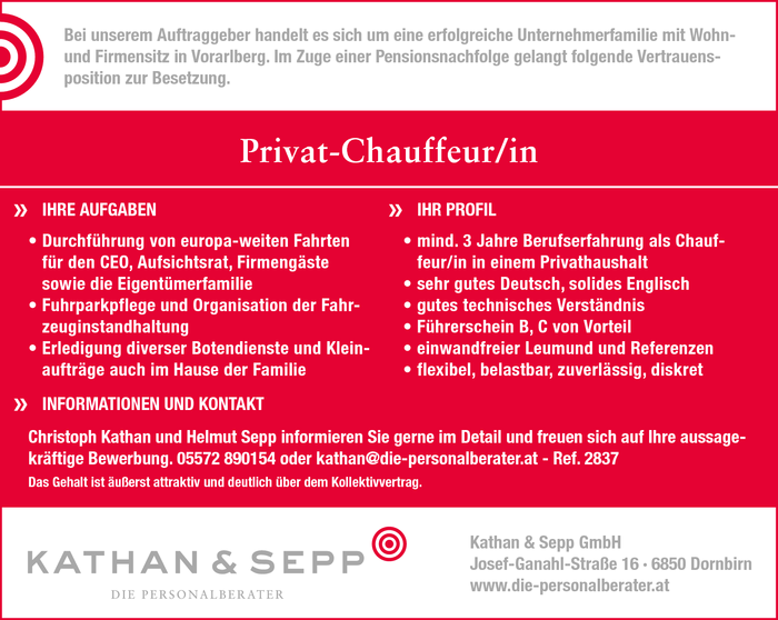 Privat-Chauffeur/in