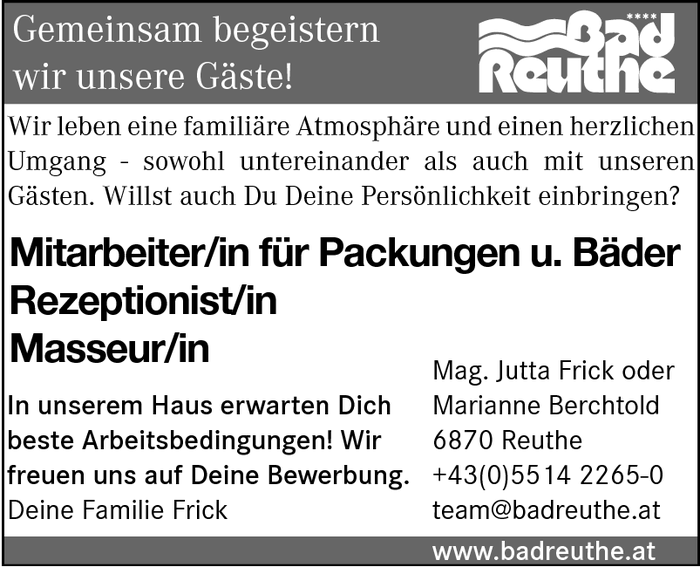 Rezeptionist/in, Masseur/in