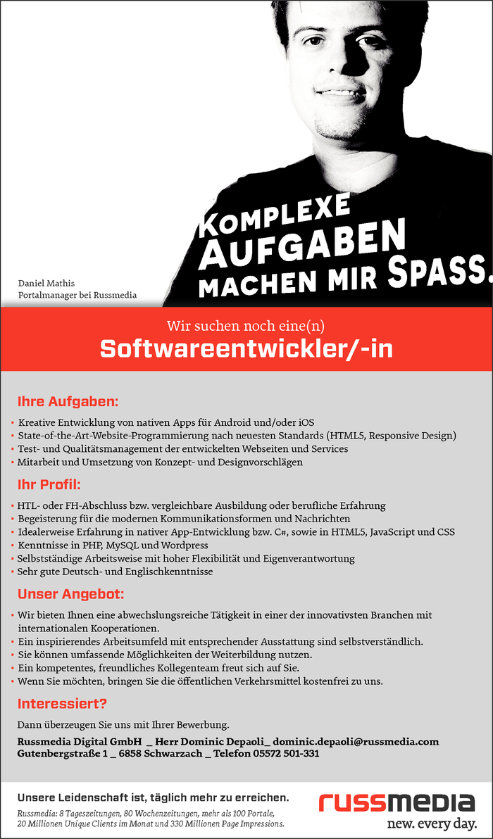 Softwareentwickler/-in
