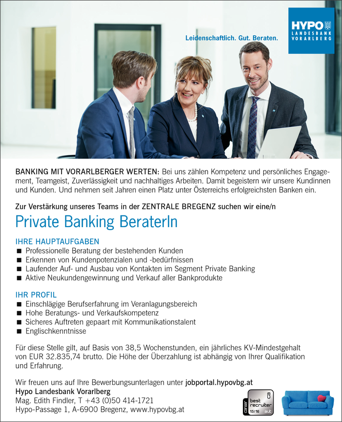 Private Banking BeraterIn - Filiale Bregenz