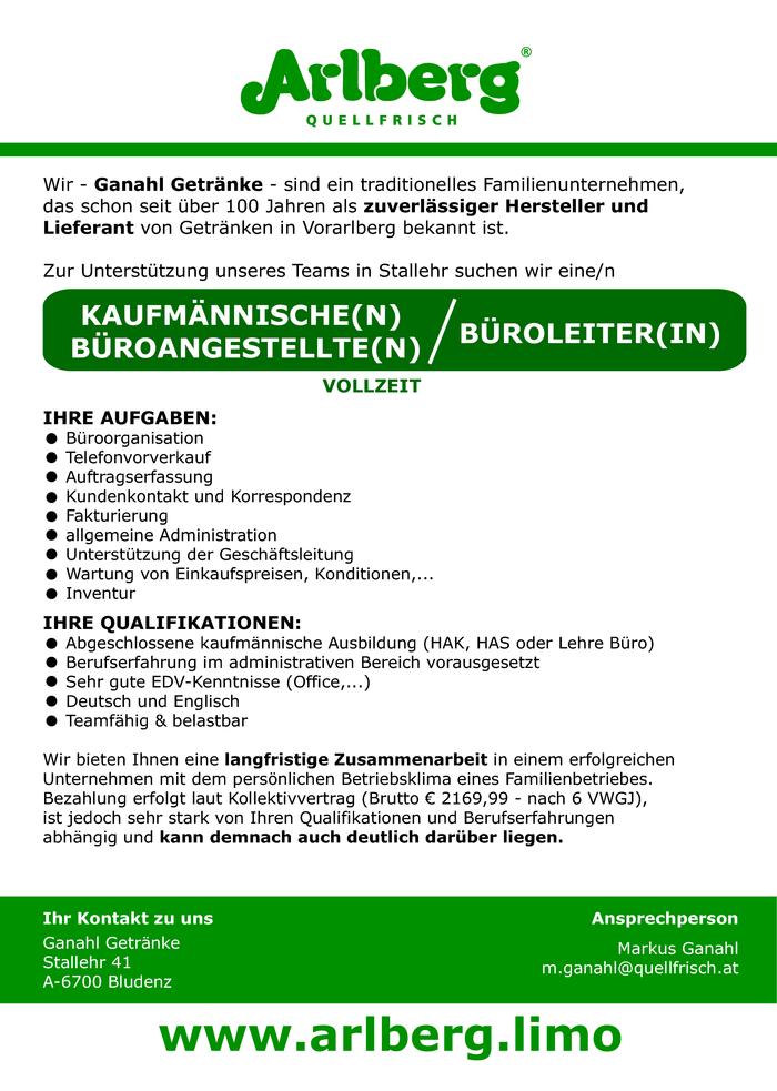 Kaufmännische(r) Büroangestellte(r) / Büroleiter(in) - Bezirk ...
