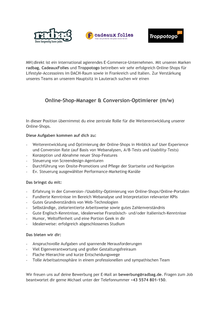 Online-Shop-Manager & Conversion-Optimierer (m/w)