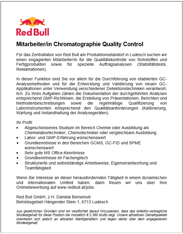 Mitarbeiter/in Chromatographie Quality Control
