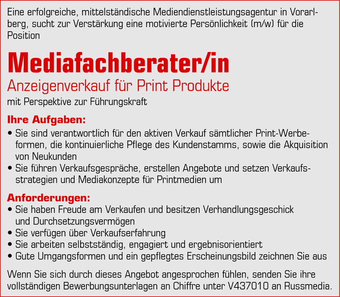 Mediafachberater/in