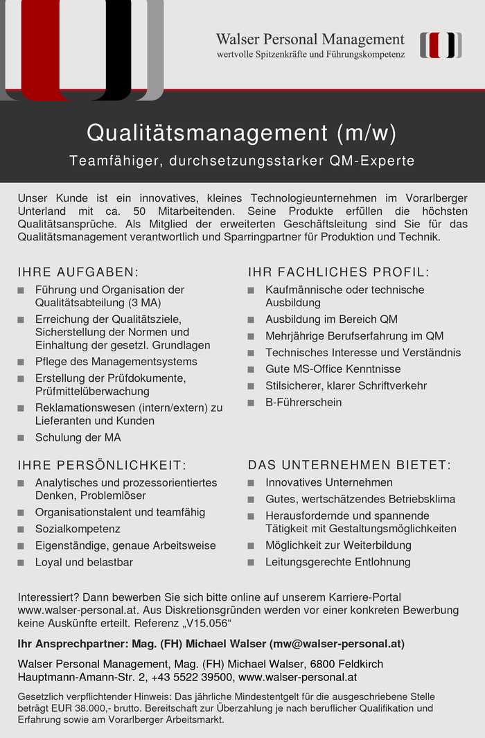 Qualitätsmanagement (m/w)