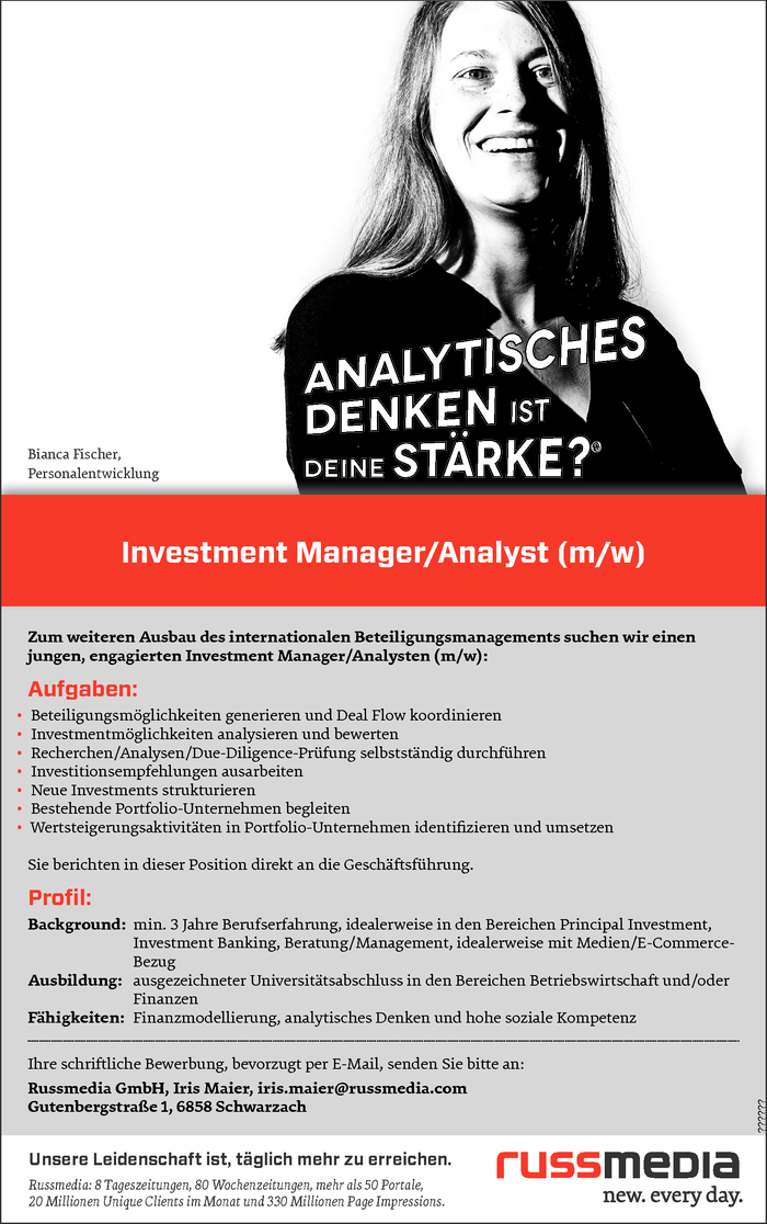 Investment Manager/Analyst (m/w)
