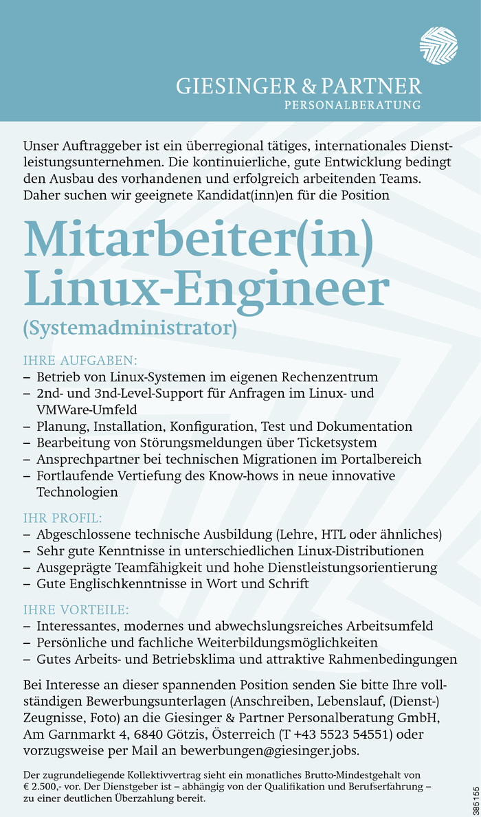 Mitarbeiter(in) Linux-Engineer (Systemadministrator)