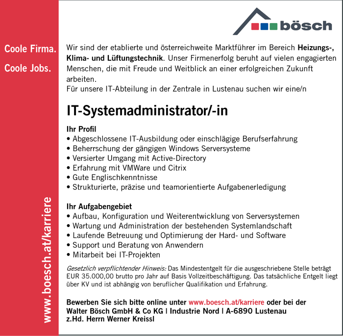 IT-Systemadministrator/-in