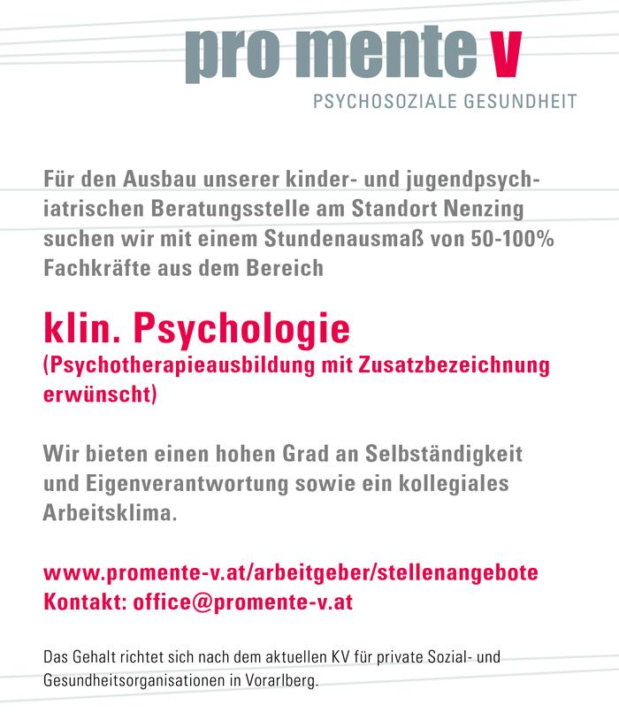 Klinische Psychologie - Bezirk Bludenz, Montafon - Jobs in Vorarlberg