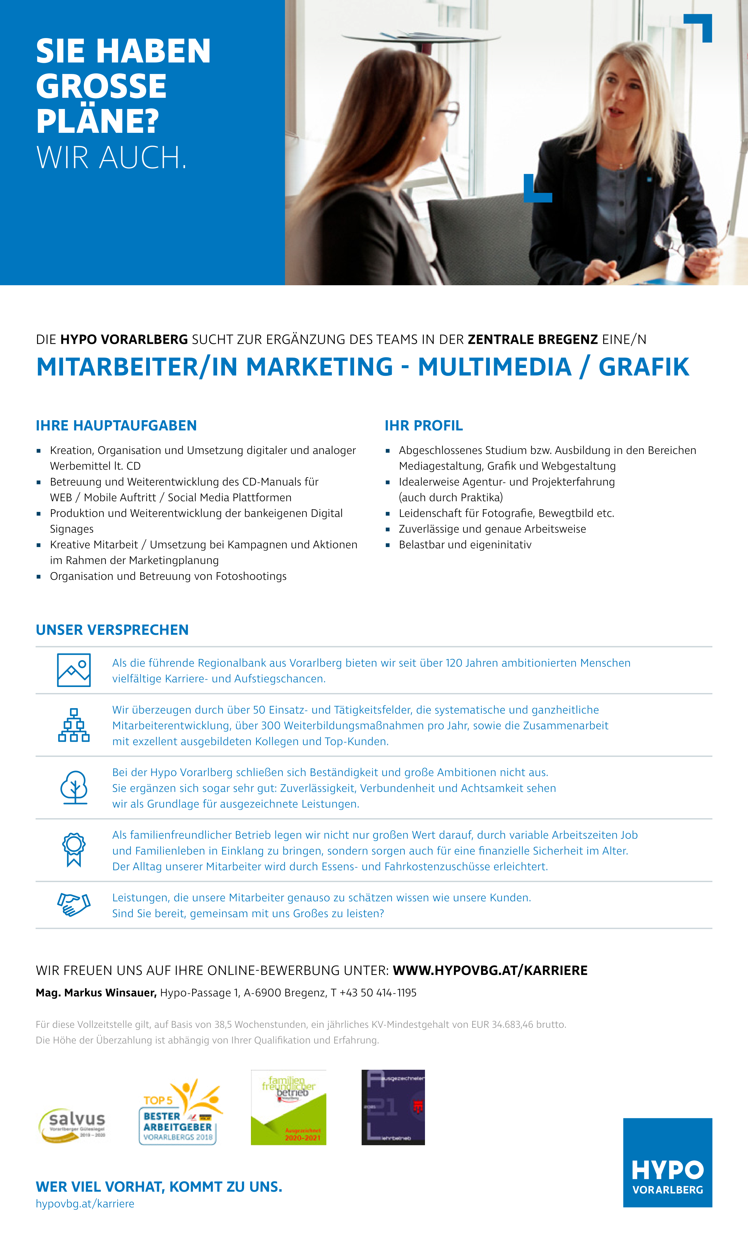 MITARBEITER/IN MARKETING - MULTIMEDIA/GRAFIK