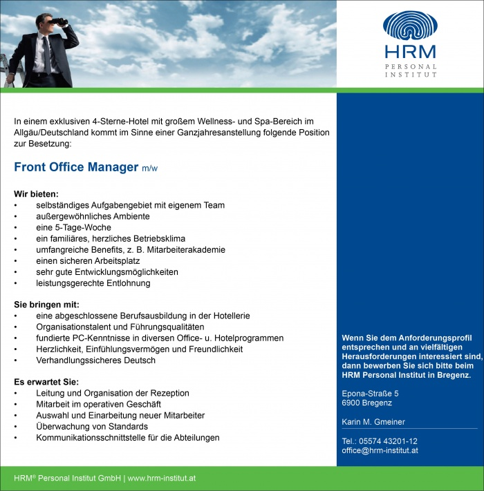 Front Office Manager w/m