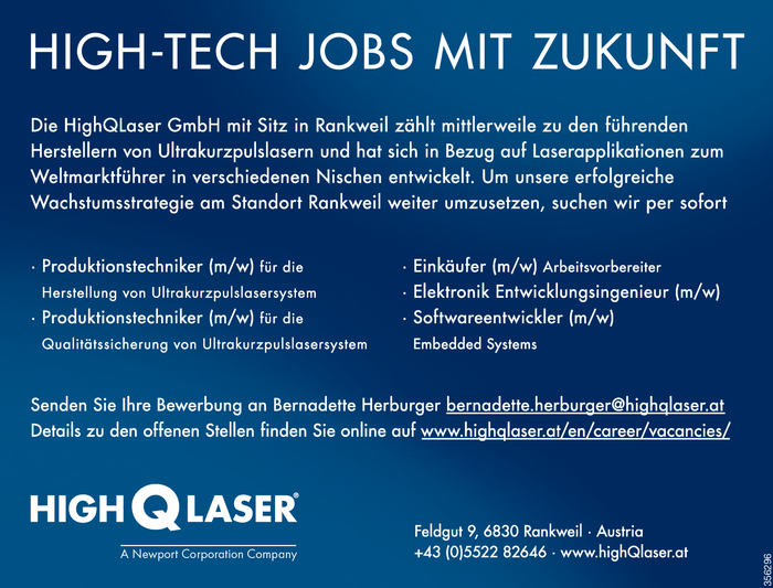 Produktionstechniker/in, Einkäufer/in, Entwicklungsingenieur/in, Softwareentwickler/in
