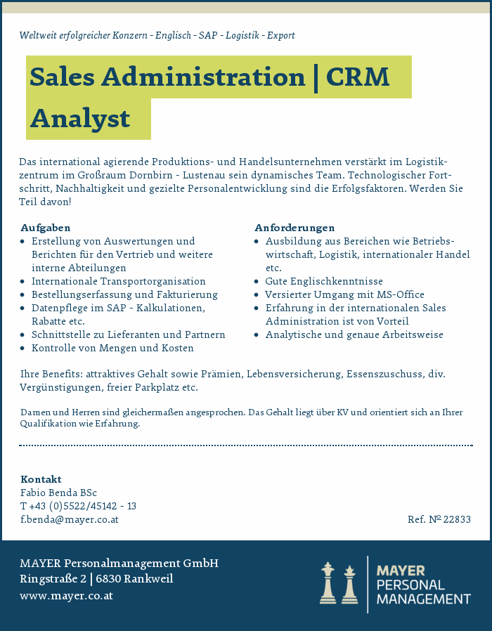 Sales Administration | CRM Analyst
