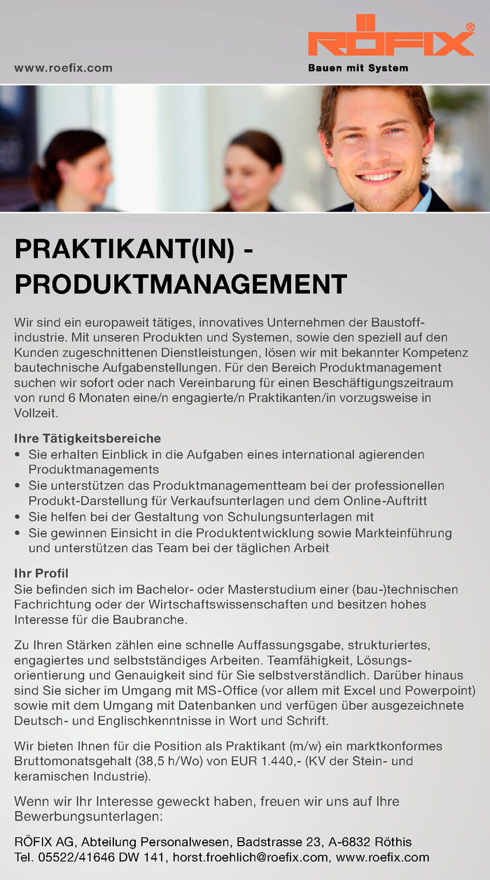 PRAKTIKANT(IN) - PRODUKTMANAGEMENT