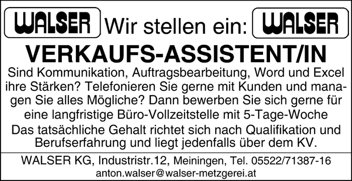 Verkaufs-Assistent/in
