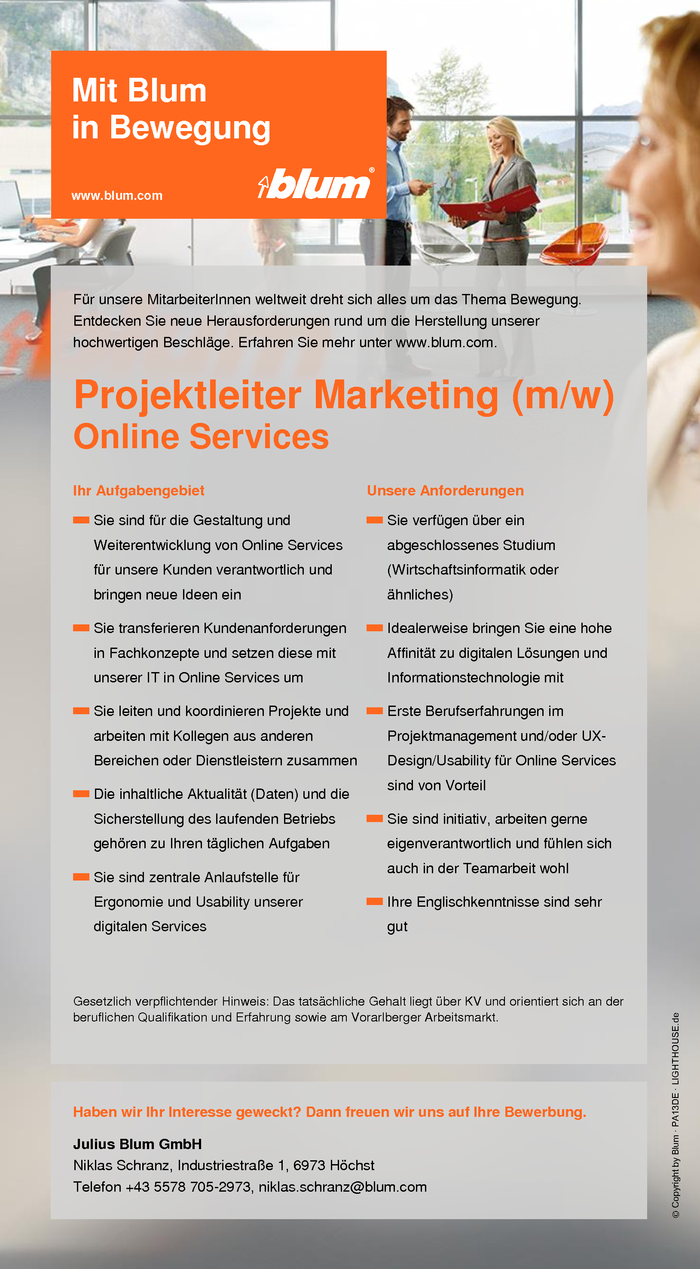 Projektleiter Marketing Online Services (m/w)