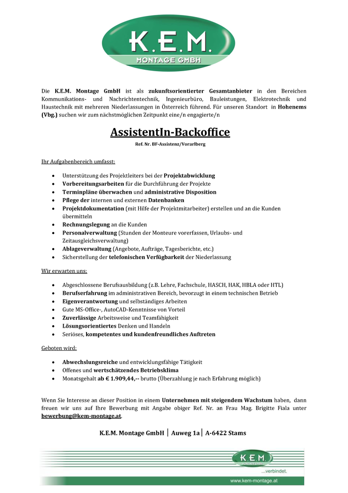 AssistentIn Backoffice Hohenems