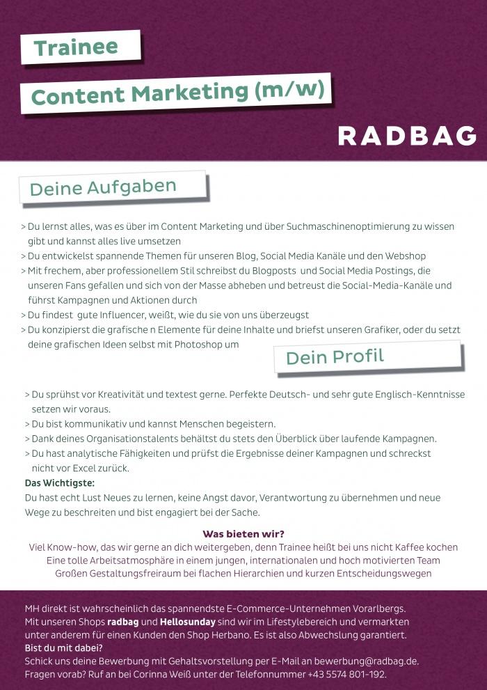 Trainee Content Marketing (M/W) - Bezirk Bregenz - Jobs In Vorarlberg