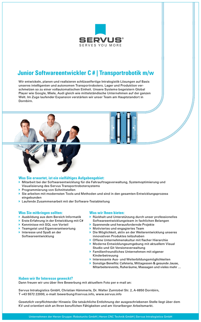 Junior Softwareentwickler C # | Transportrobotik m/w