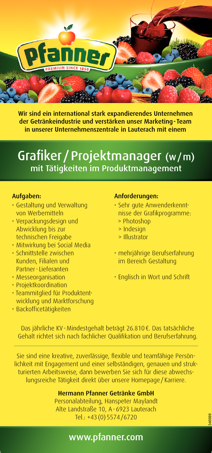 Grafiker/in / Projektmanager/in