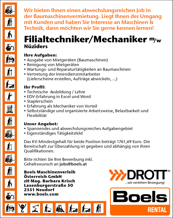 Filialtechniker/in / Mechaniker/in