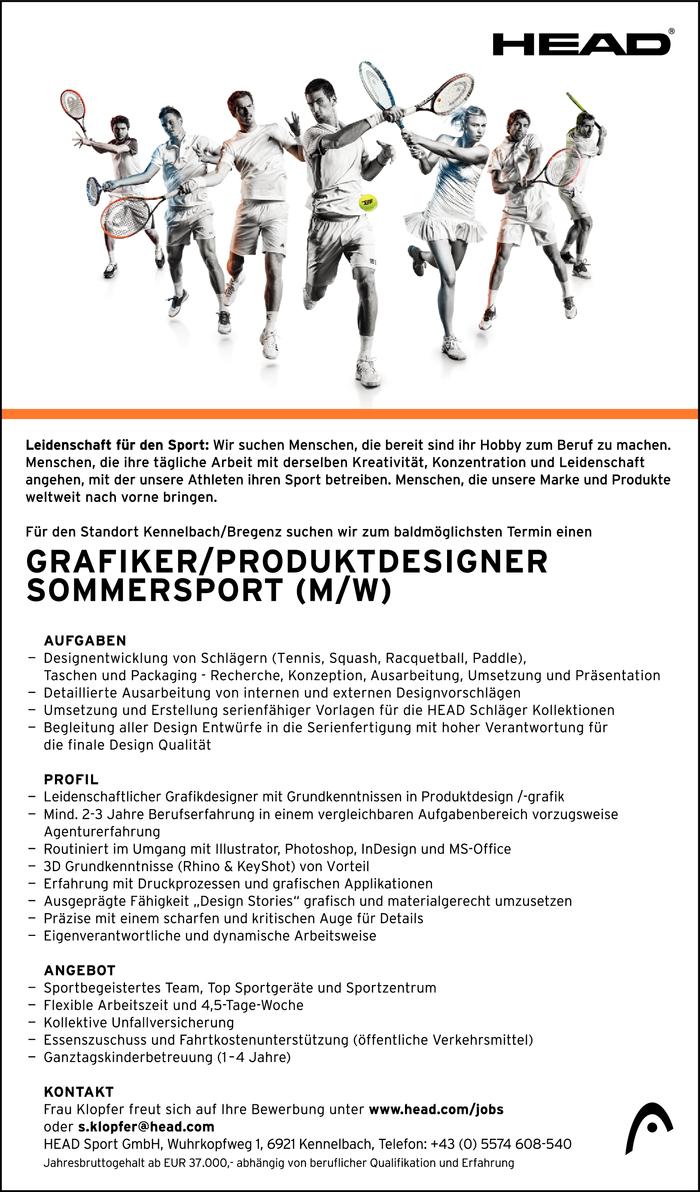 Grafiker produktdesigner sommersport m w kennelbach for Produktdesigner gehalt