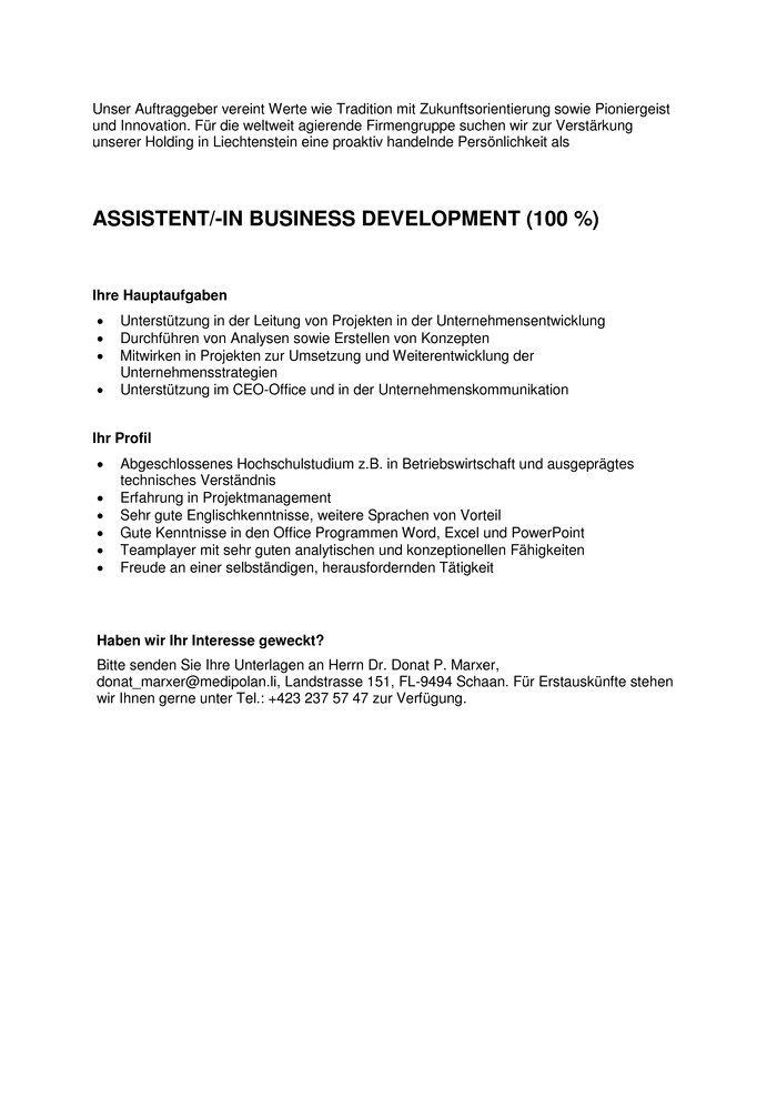 ASSISTENT/-IN BUSINESS DEVELOPMENT (100%)