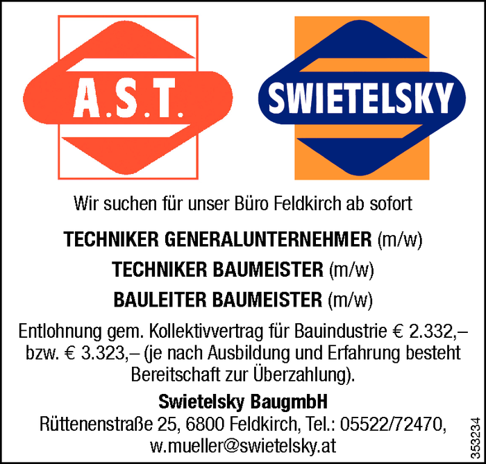 Techniker/in Generalunternehmer, Techniker/in Baumeister, Bauleiter/in Baumeister