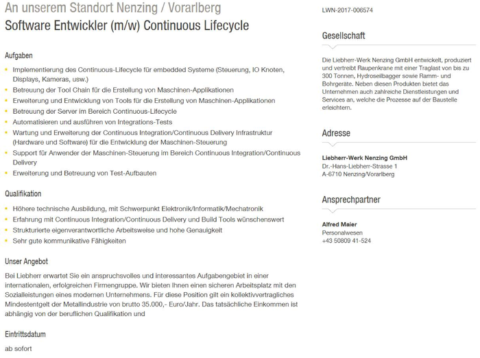 Software Entwickler (m/w) Continuous Lifecycle