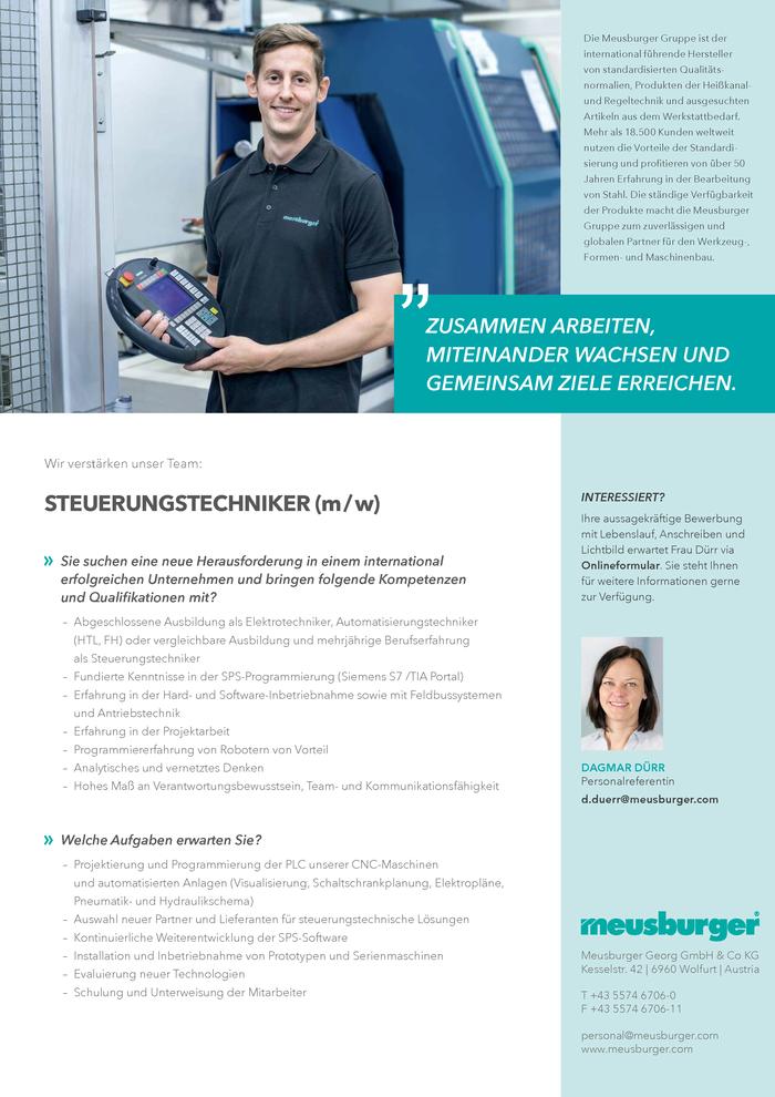 Steuerungstechniker (m/w) - Vorarlberg - Jobs in Vorarlberg