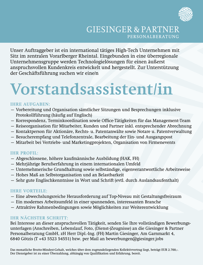 Vorstandsassistent/in