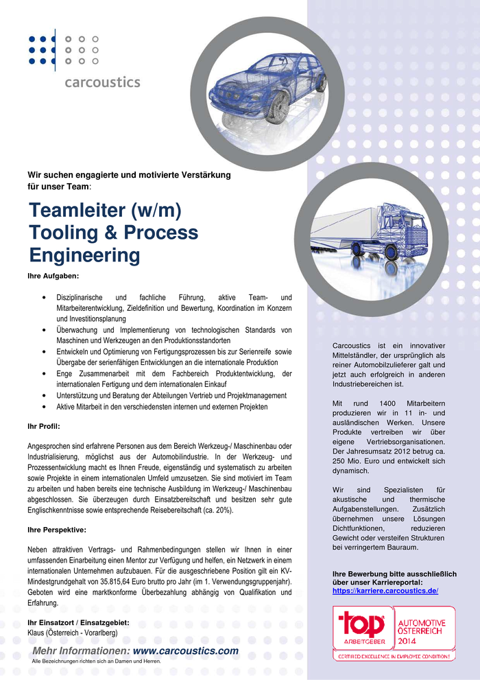 Teamleiter Tooling & Process Engineering (w/m)