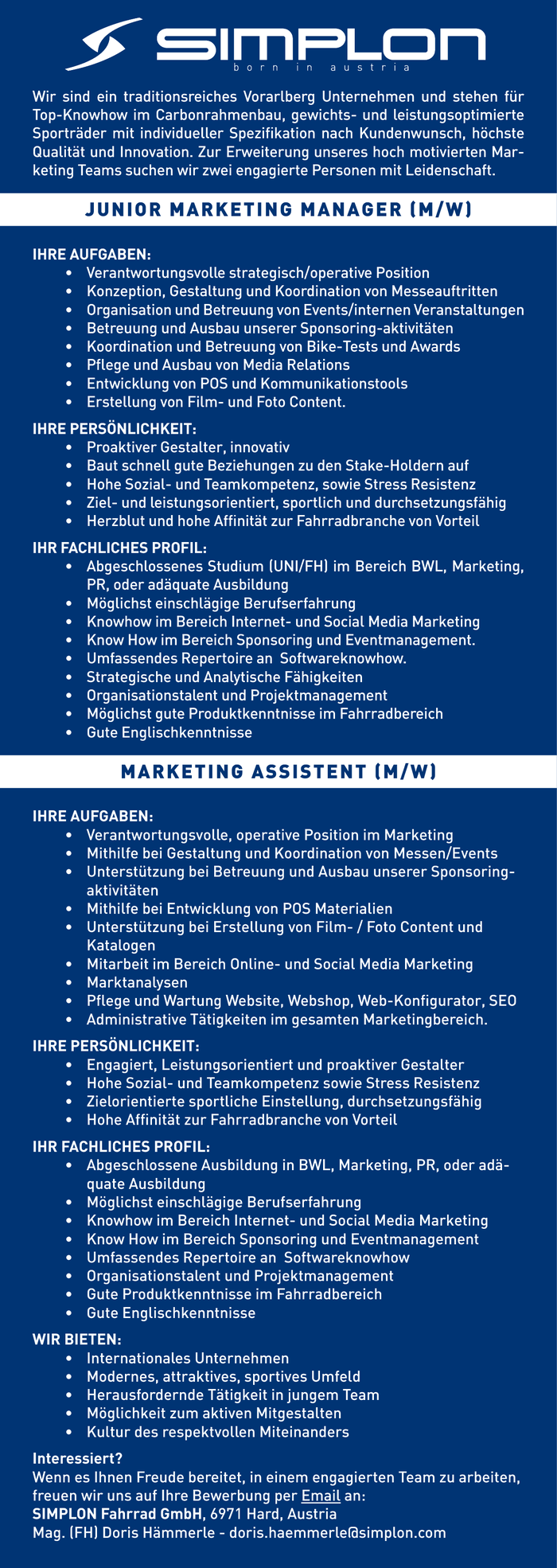 Junior Marketing Manager/in, Marketing Assistent/in