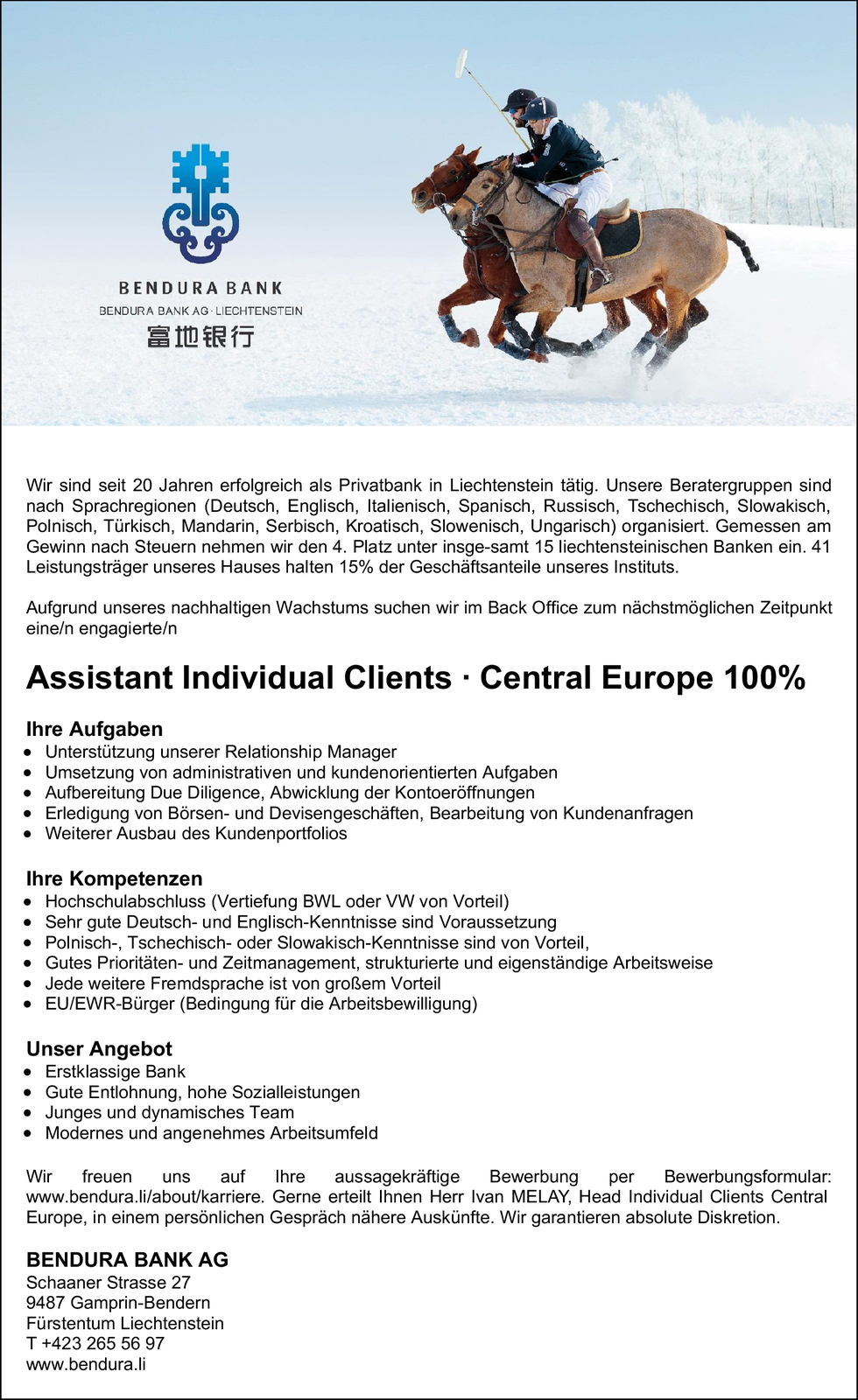 Assistant Individual Clients · Central Europe 100%