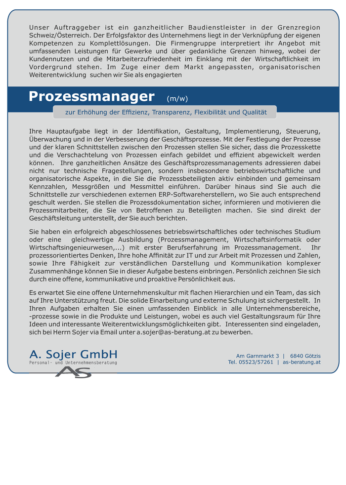 Prozessmanager  (m/w)