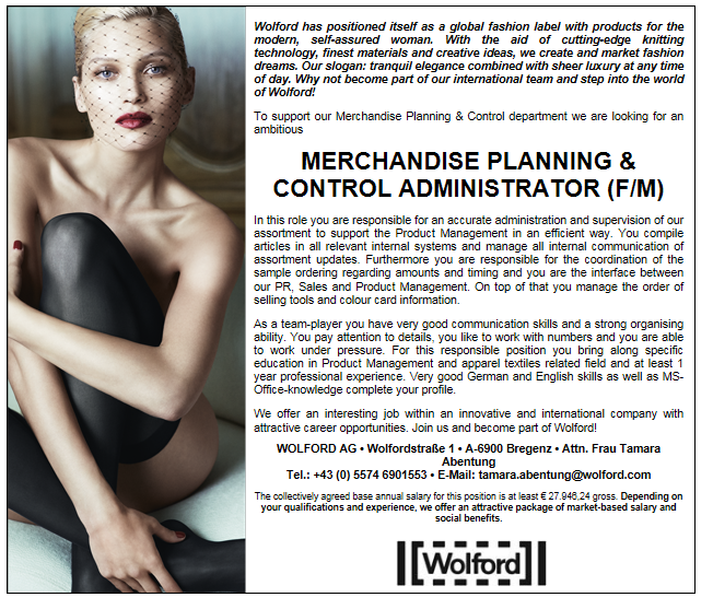 Merchandise Planning & Control Administrator (f/m)