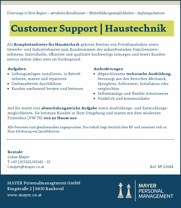 Customer Support | Haustechnik