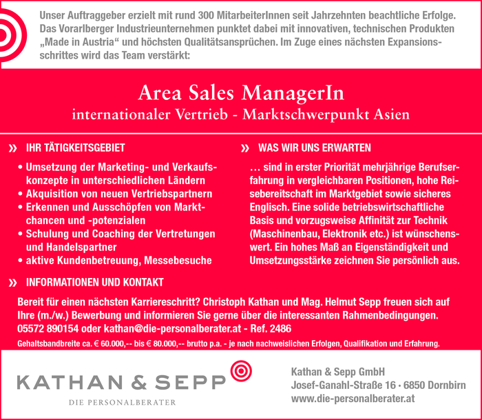 Area Sales Manager/in
