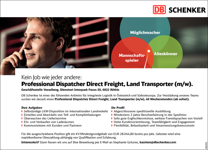 Professional Dispatcher Direct Freight, Land Transporter (m/w)