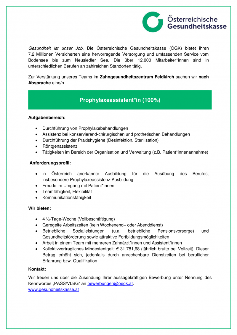 Prophylaxeassistent*in (100%)
