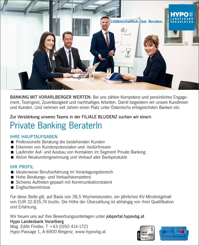 Private Banking BeraterIn - Filiale Bludenz