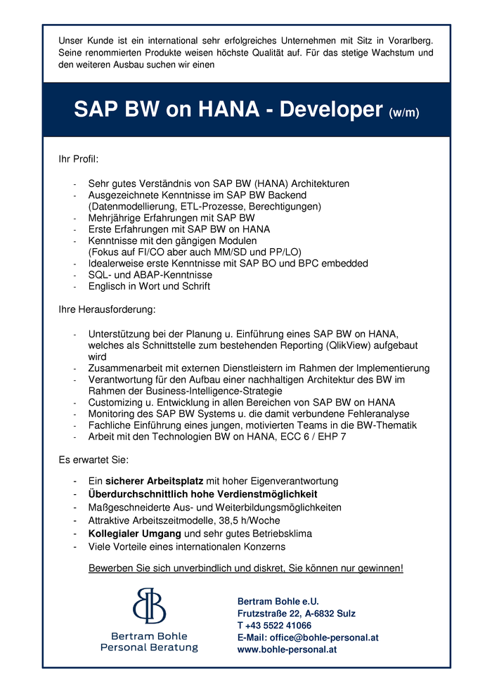 SAP BW on HANA - Developer (w/m)