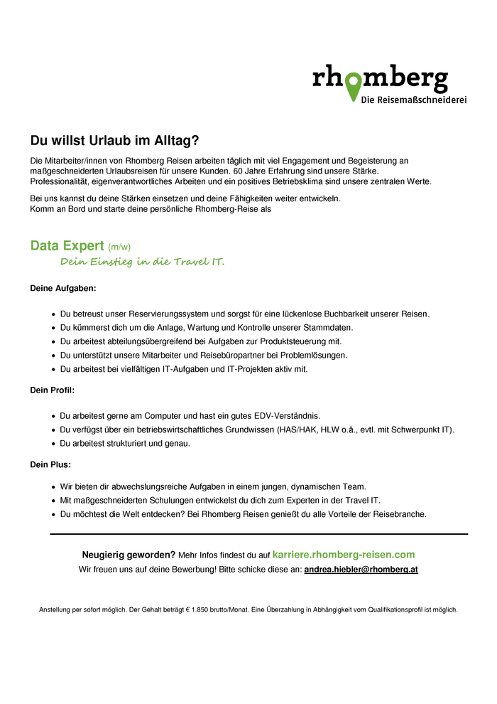 Data Expert (m/w) Dein Einstieg in die Travel IT.